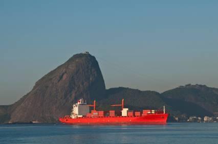 Cargo ship docked near port in Brazil
