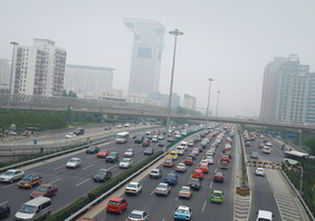 A smog-ridden street in Beijing