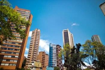 Financial district in downtown Bogota