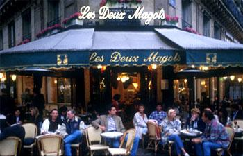 Les Deux Magots Cafe in Paris is frequented by the intellectual elite