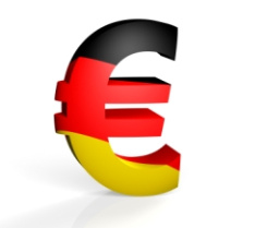 Euro symbol decorated with German flag