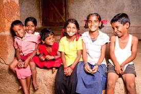 Rural Indian children laughing