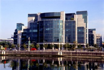 The Financial Services Center in Dublin on the banks of the River Liffy
