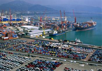 Automobiles at the Tyrrhenian port of Salerno