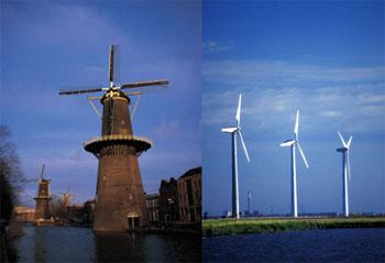 The Dutch have pioneered the use of wind energy