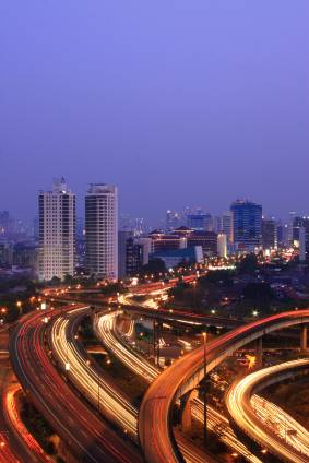 View of Jakarta city at night