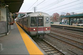 A train pulls into New York's New Rochelle train station